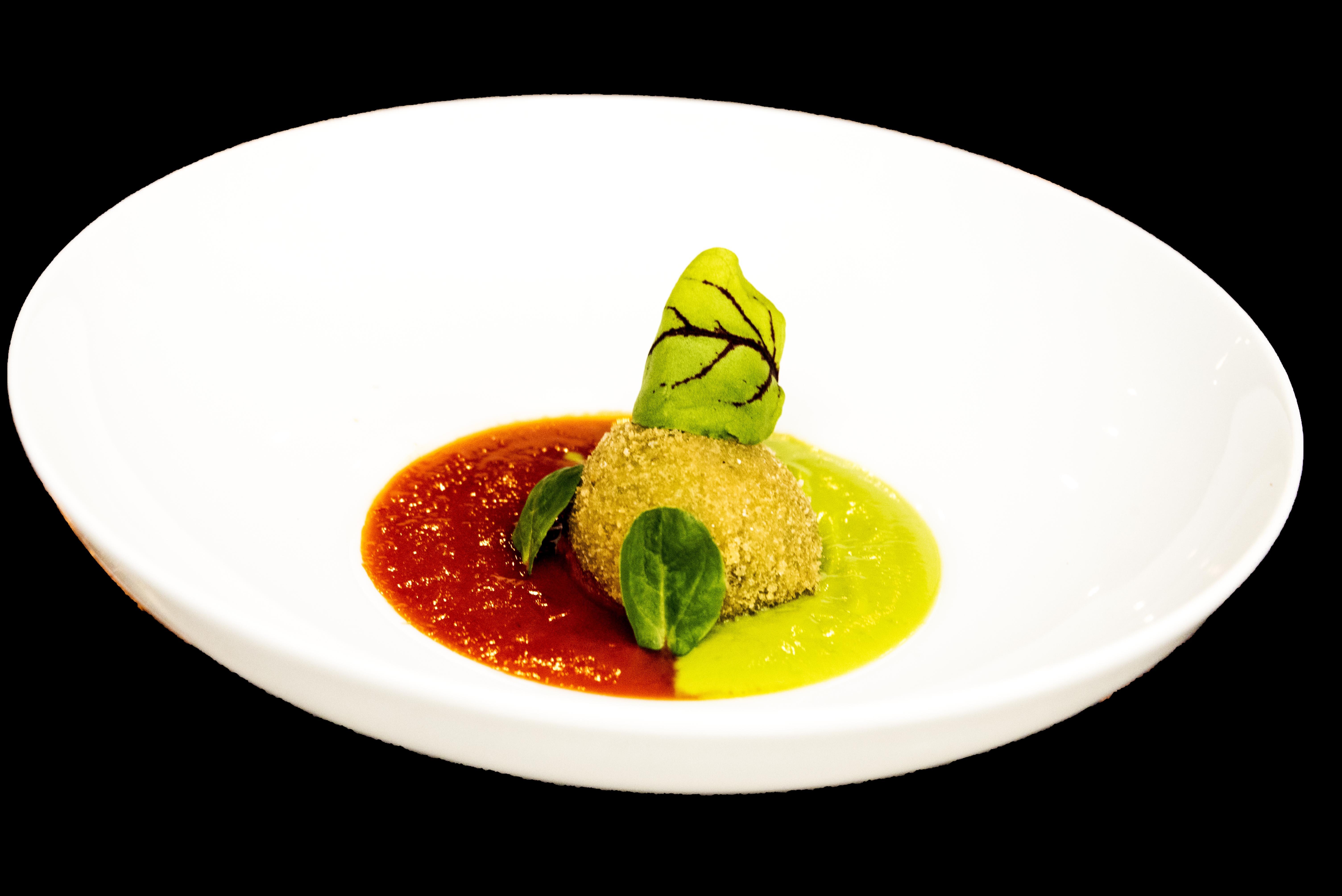 Rocher di Senape con crema di Zucchine